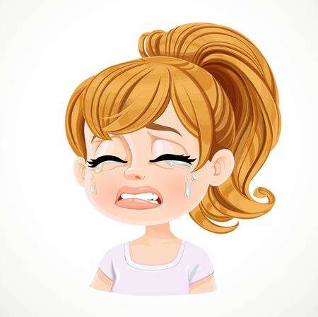 Beautiful inconsolably crying cartoon fair-haired girl with hair gathered in ponytail portrait isolated on white background Ilustração