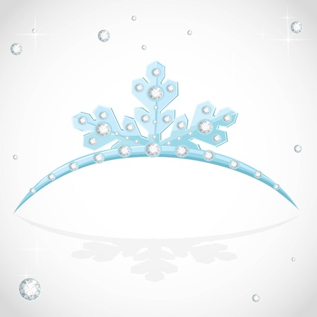Blue tiara snowflakes shaped for Christmas ball on a white background Ilustração