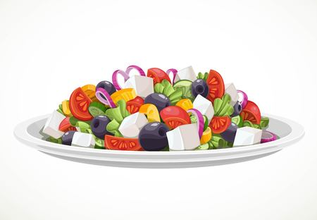 Greek salad of fresh vegetables and cheese in large white ceramic plate object isolated on a white background Фото со стока - 116036017