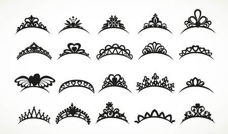 Big set of silhouettes tiaras various shapes isolated on a white background