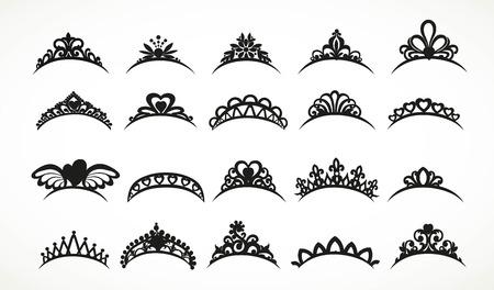 Grand ensemble de silhouettes diadèmes diverses formes isolées sur fond blanc
