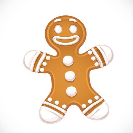 Christmas gingerbread in the form of a man with an icing object isolated on white background Vector Illustration