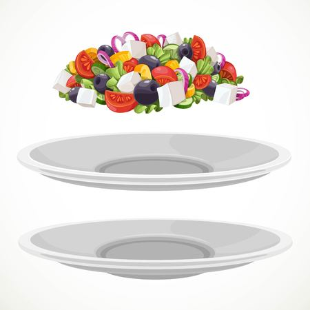 Set from Greek salad of fresh vegetables and cheese and large white ceramic plates separately to choose object isolated on a white background