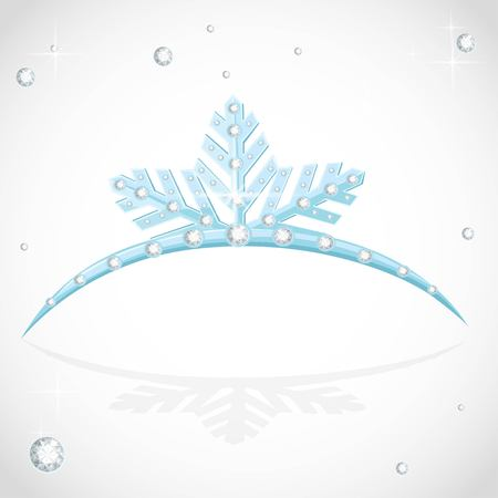 Blue shining tiara snowflakes shaped for Christmas ball on a white