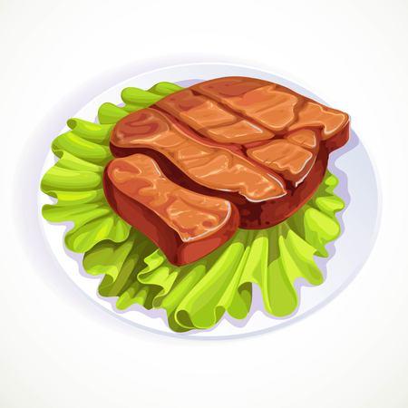 Roasted pork steak on lettuce leaves object isolated on white background