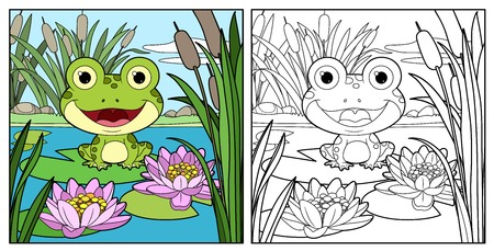 Cute frog sits on leaf of lily color and outlined linear drawing for coloring on a white background Stock Vector - 116036033