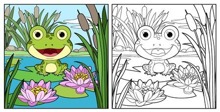 La rana linda se sienta en la hoja del color del lirio y el dibujo lineal delineado para colorear sobre un fondo blanco