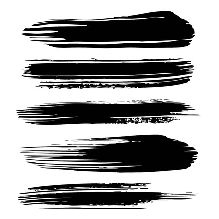 Black abstract textured long thick paint strokes isolated on white background Иллюстрация