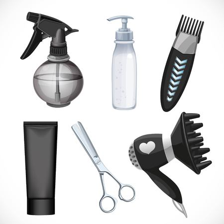Black set from plastic spray of water, clipper, product in bottle with dispenser, tube, hairdryer and scissors  isolated on a white