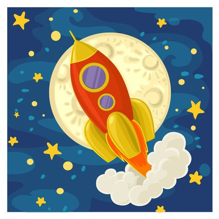 Cartoon rocket flying of the moon and the starry sky