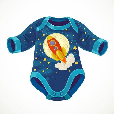 Babybody mit einem Bild einer Cartoon-Rakete, die vor dem Hintergrund des Mondes und des Sternenhimmels auf weißem Hintergrund fliegt