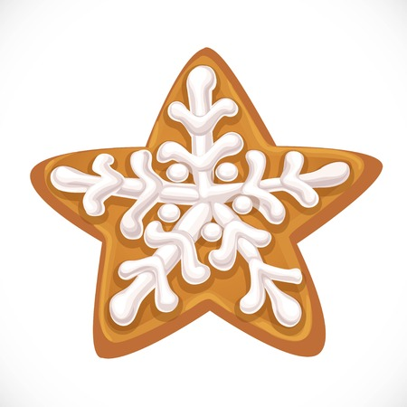 Christmas gingerbread in the form of a star with an icing object isolated on white background Stock Illustratie