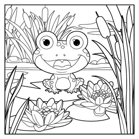 Cute frog sits on leaf of lily color linear drawing on a white background Stock Vector - 116036041