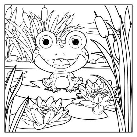 Schattige kikker zit op blad van lelie kleur lineaire tekening op een witte achtergrond