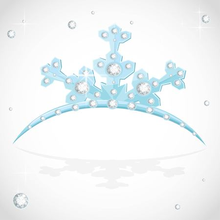 Blue snowflake shaped tiara for Christmas ball on a white background Imagens - 116036042