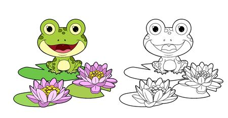 Netter Frosch sitzt auf einem Blatt der Lilienfarbe und umrissener linearer Zeichnung zum Ausmalen Vektorgrafik