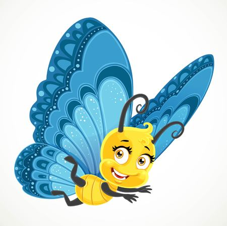Cute yellow little Butterfly with blue wings fly on a white background