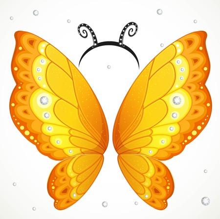 Ailes de papillon bleu mignon et cerceau avec des antennes sur fond blanc Vecteurs