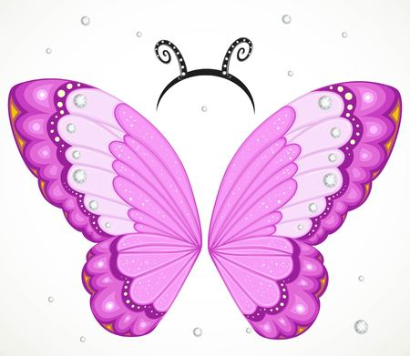 Cute pink Butterfly wings and hoop with antennae on a white background