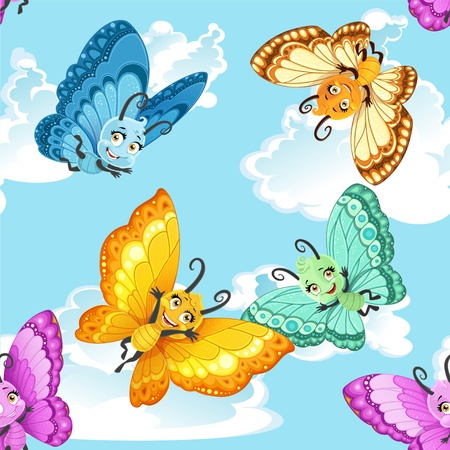 Seamless patterm with colorful cute little Butterfly on a blue sky background Foto de archivo - 116036057
