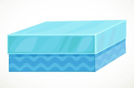 Gift in blue box with blue waves ornament isolated on a white background Ilustração
