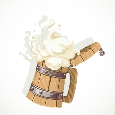 Foamy beer in a wooden mug object isolated on white