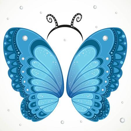 Ailes de papillon bleu mignon et cerceau avec des antennes sur fond blanc