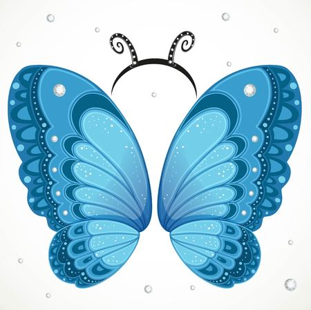 Cute blue Butterfly wings and hoop with antennae on a white background