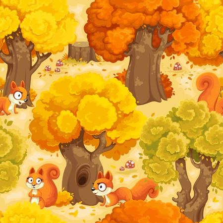 Squirrel cartoon forest with fly agarics