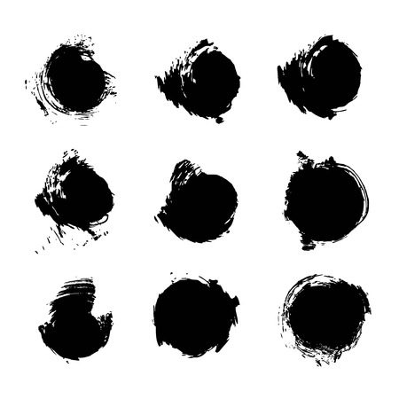 Black circle abstract textured paint strokes set isolated on white background