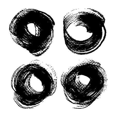 Abstract black round paint strokes set isolated on white background Illustration