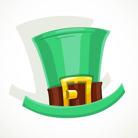 Green hat with gold buckle of leprechaun object isolated on white background