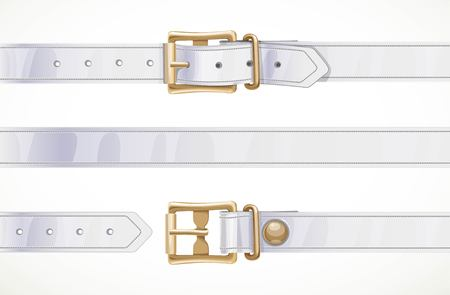 Cintura sottile in pelle bianca abbottonata, sbottonata e parte centrale senza cuciture isolata su sfondo bianco Vettoriali