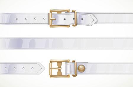 Dünner weißer Ledergürtel geknöpft, aufgeknöpft und nahtloser Mittelteil isoliert auf weißem Hintergrund Vektorgrafik