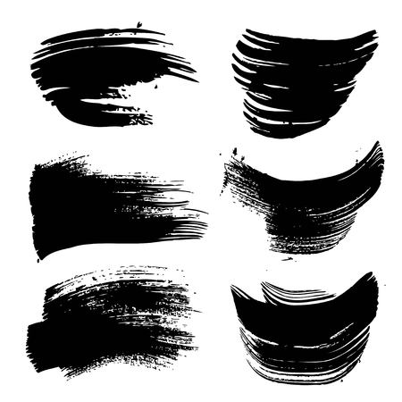 Abstract black paint strokes set isolated on white background