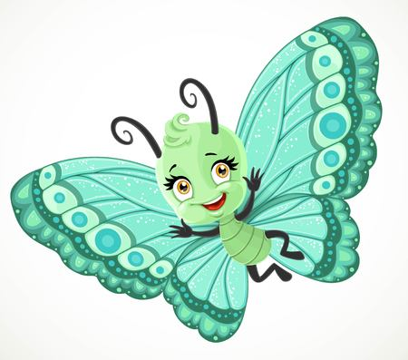 Cute little Butterfly with green ornament wings fly on a white background