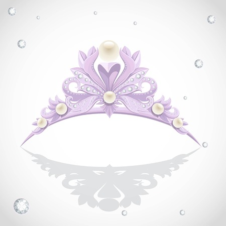 Shining violet  tiara with diamonds and pearls