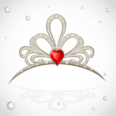 Openwork jewelry tiara with diamonds and faceted red stone in a heart shape on white background