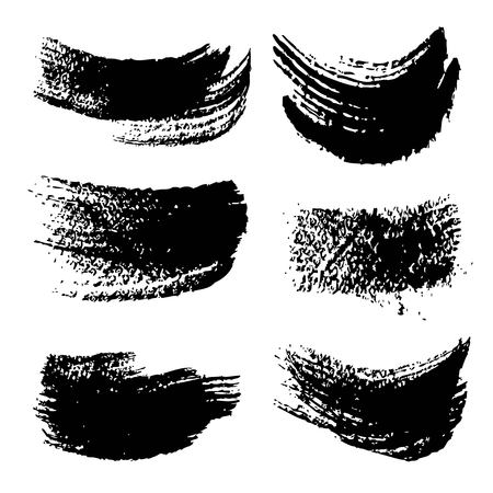 Abstract black ink paint strokes set isolated on white background