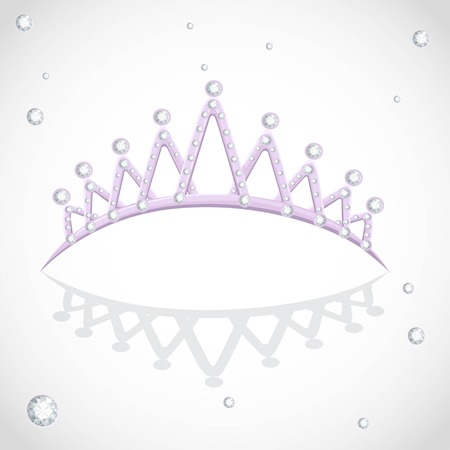 Violet shining tiara with diamonds on a white backround