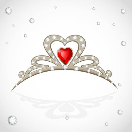 Golden tiara with diamonds and faceted red stone on white background Ilustração