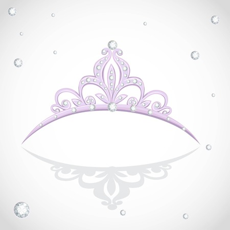 Shining violet tiara with diamonds on a white background