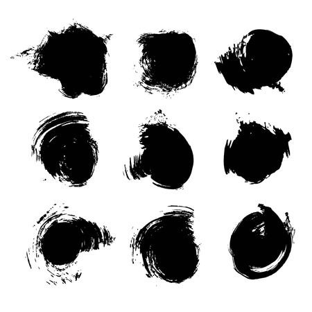 Black ink abstract paint strokes set isolated on white background