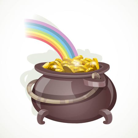Pot of gold leprechaun at the end of the rainbow object isolated on white background