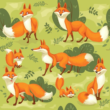 Seamless pattern from cute cartoon orange foxes on green background