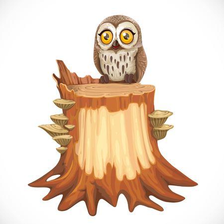 Il gufo sveglio del fumetto si siede sul vecchio ceppo invaso con i funghi di legno isolati su un fondo bianco Vettoriali