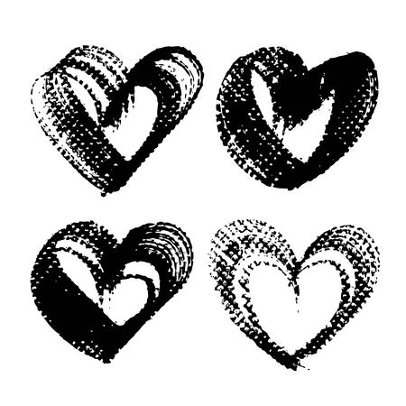 Heart shape abstract textured black smooth strokes and stamps  isolated on a white