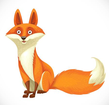 Cute cartoon orange fox sit on white background