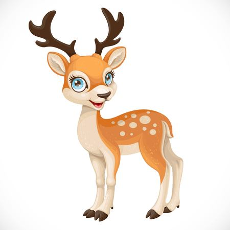Cute cartoon dappled deer isolated on a white