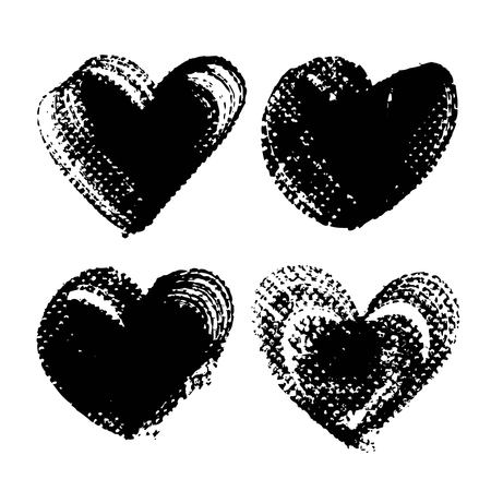 Black heart shape abstract textured smooth strokes and stamps backgrounds Illustration